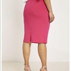 Pink Neoprene Pencil Skirt